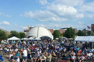 Photo of crowd at a past Kalamazoo Blues Festival.