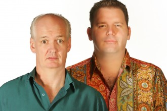 Photo of comedians Colin Mochrie and Brad Sherwood.