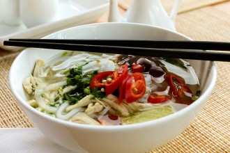 Photo of Vietnamese noodle soup.