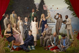 Photo of members of the bands Pink Martini and The von Trapps.