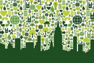 Graphic depicting a green city skyline.