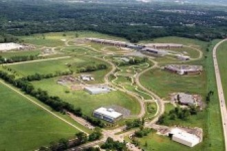 Aerial photo of WMU's BTR Park.