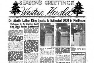 Scan of the front page of a Western Herald issue from December 1963 reporting on Martin Luther King Jr.'s visit to campus.