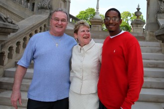 Photo of the WMU-Cooley Innocence project director with two of the project's exonerees.