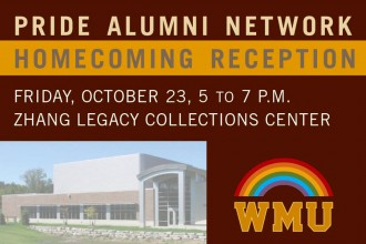Pride Alumni Network Homecoming Reception flier.