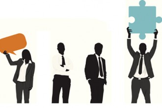 Graphic depicting silhouettes of businesspeople.