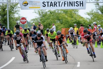 Photos of competitors in WMU's Criterium Bike Race.