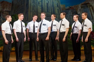 Photo of cast members from The Book of Mormon.