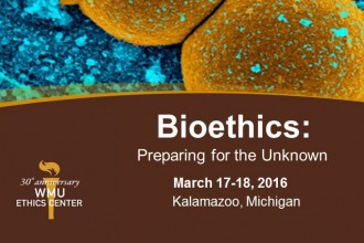 Bioethics conference flier.