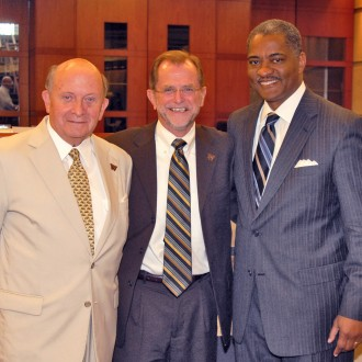 Photo of President John M. Dunn with former WMU presidents Diether H. Haenicke and Elson S. Floyd.