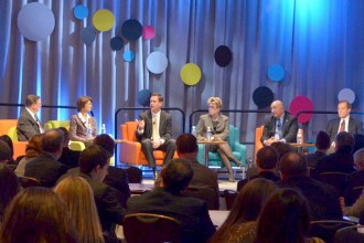 Photo of a panel discussion at a WMU Food Marketing Conference.