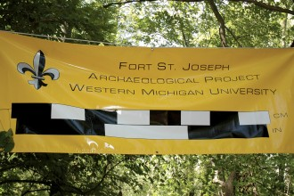Photo of a Fort St. Joseph archaeological project sign.