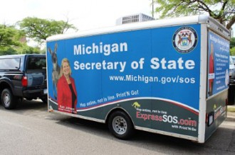 Photo of the Secretary of State Mobile Office.