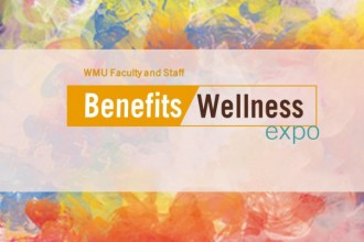"Graphic with marble-like, pastel background that states ""WMU Faculty and Staff Benefits-Wellness Expo."""