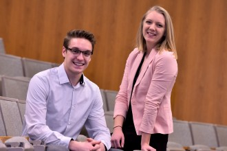 Photo of students Nathan LaWarre and Jill Puckett.