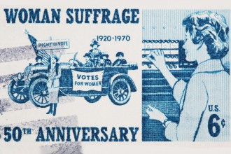 Photo of a postage stamp commemorating the ratification of the 19th Amendment of the U.S. Constitution.