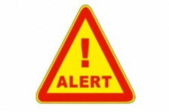 "Image of a yellow triangle outlined in red with the word ""Alert"" in the middle."