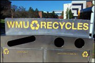 Photo of WMU recycling bin.