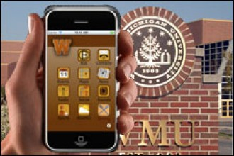 Photo of smartphone with WMU Mobile.