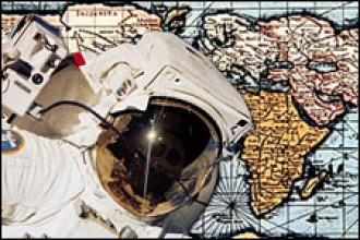 Photo of astronaut and 17th century world map.