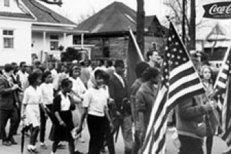 Photo of 1965 voter registration march in Alabama.