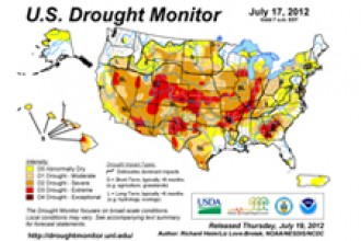 Map with summary of drought conditions across the United States.