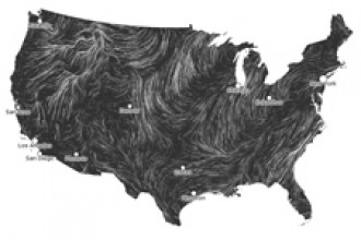 Map showing wind flowing over the United States.