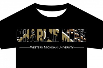 Drawing of the front of a T-shirt with the words Charlie Mike written in camouflage letters, which is code for Continue the Mission. Western Michigan University  appears below.