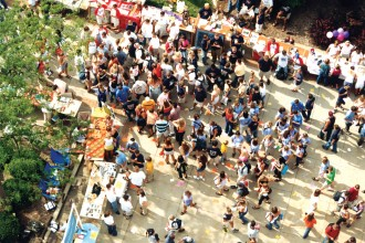 Arial photo of participants attending Bronco Bash outside.