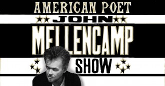 Photo of musician John Mellencamp with the words American Poet John Mellencamp Show.