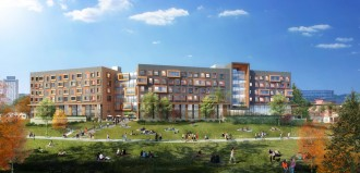 Photo of a rendering of the new WMU Arcadia Flats.