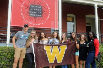Photo of Western Michigan University Lee Honors College students at the Walt Disney Family Museum in San Francisco.