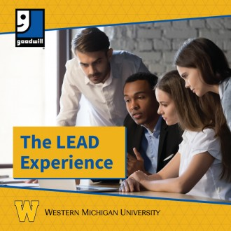 Photo of four people looking at a computer with the words Goodwill, The Lead Experience and Western Michigan University.