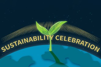 Image of a plant coming out of the Earth with the words Sustainability Celebration.