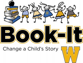 Logo with cartoon children and a gold W the words Book-it Change a Child's Story.