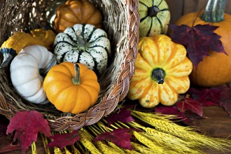 Photo of gourds in a basket.