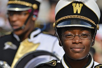 Photo of the WMU Bronco Marching Band