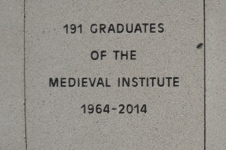 Image of the Medieval Institute's paving stone at Heritage Hall: 191 graduates of the Medieval Institute, 1964-2014.