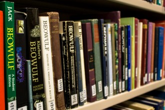 Image of books in the library of the Richard Rawlinson Center.