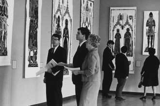 Image of an exhibition of brass rubbings at the 1968 conference on medieval studies.