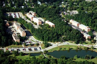 Arial view of the Goldsworth Valley residence halls.
