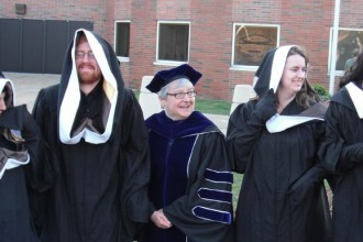 Image of graduates of the Medieval Institute with Dr. Teviotdale.