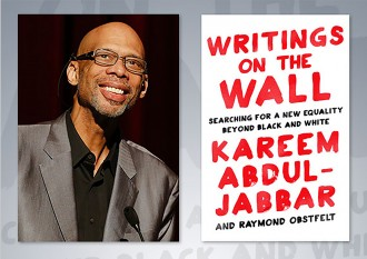 Image of Kareem Abdul-Jabbar and the book Writings on the Wall
