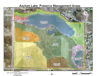 Map of Asylum lake with color overlays showing different sections of the area