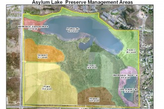 Map of Asylum Lake showing different locations with color overlays