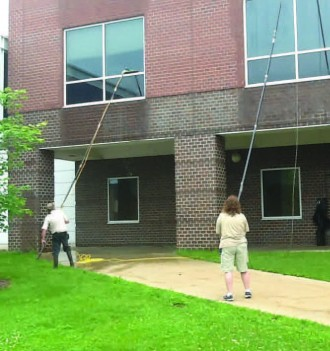 Window washing at Haenicke Hall