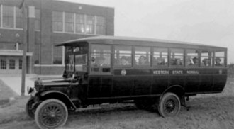 Western State Normal School bus, circa 1920.