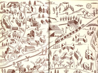 "John Kemper's design for the end papers of ""The First Fifty Years"""