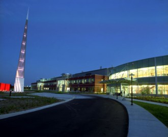The icon (left) and College of Engineering at night.