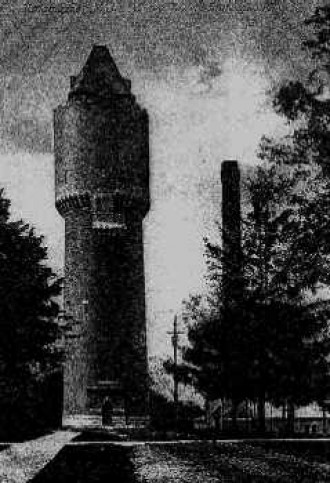 Kalamazoo Psychiatric Hospital water tower with old power plant in the background